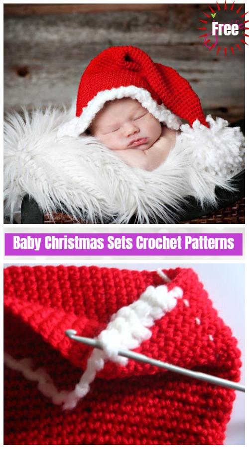 DIY Crochet Baby Christmas Sets Free Pattern-Santa hat free crochet pattern