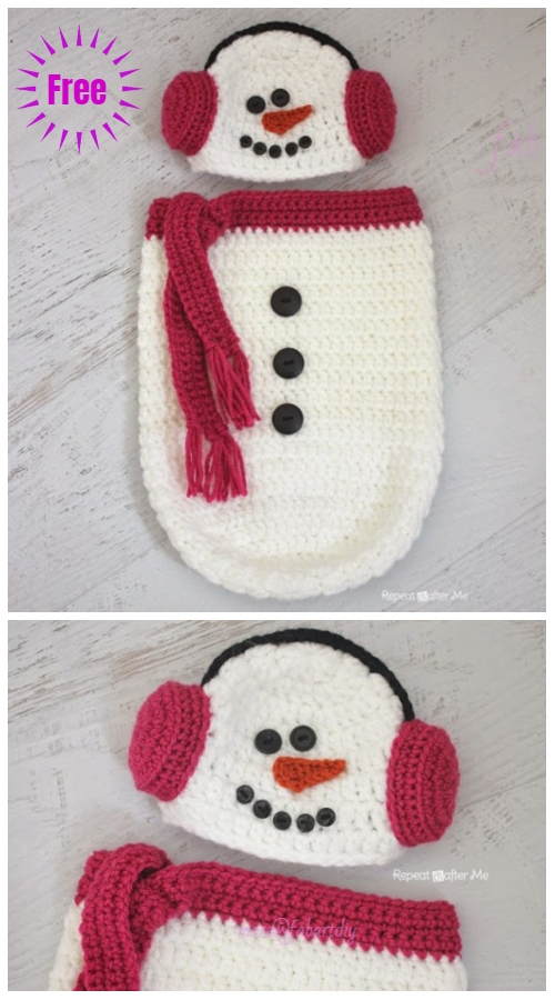 DIY Crochet Baby Christmas Sets Free Pattern- Baby Snowman Cocoon free crochet pattern