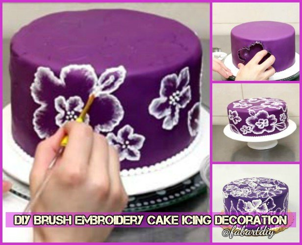 DIY Brush Embroidery Cake Icing Decoration Tutorial-Video