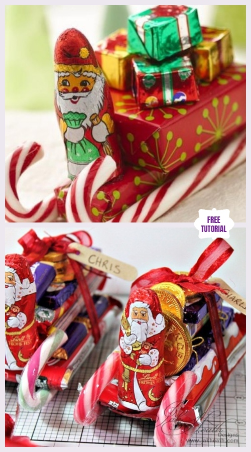 DIY Candy Cane Sleighs Express Christmas Gifts Pack - Easy Tutorial