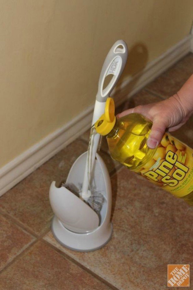 16 DIY Cleaning Hacks - clean and disinfectant your toilet brush holder