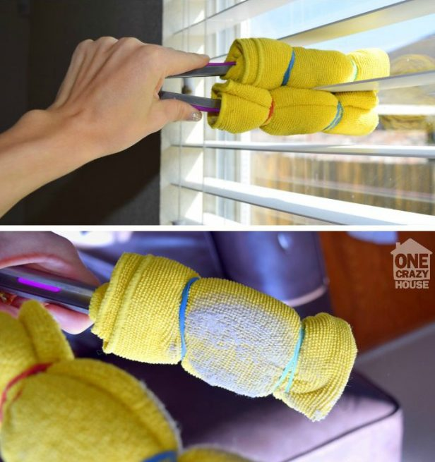 16 DIY Cleaning Hacks - Use tongs and microfiber cloths to clean your blinds.