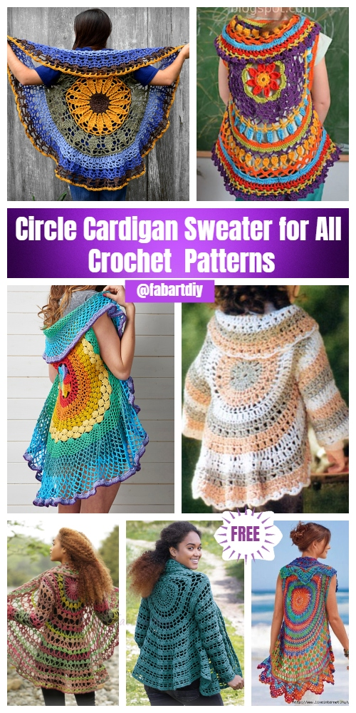 DIY Crochet Circle Cardigan Sweater Free Patterns & Paid