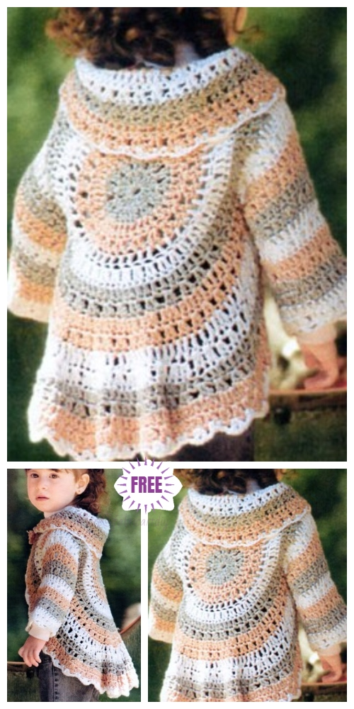 DIY Crochet Circle Cardigan Sweater Free Crochet Patterns -Crochet Circle Toddler Shrug Bolero Free Crochet Pattern