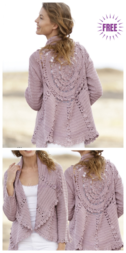 DIY Crochet Circle Cardigan Sweater Free Crochet Patterns - Crochet Ros Circular Cardigan Free Crochet Pattern