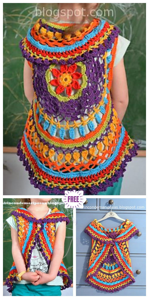DIY Crochet Circle Cardigan Sweater Free Crochet Patterns - Crochet Circular Cardigan Vest Free Crochet Pattern