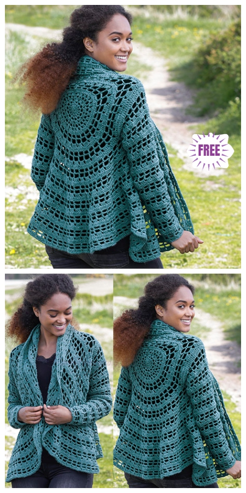 DIY Crochet Circle Cardigan Sweater Free Crochet Patterns - Crochet Ornella  Circular Jacket Cardigan Free Crochet Pattern