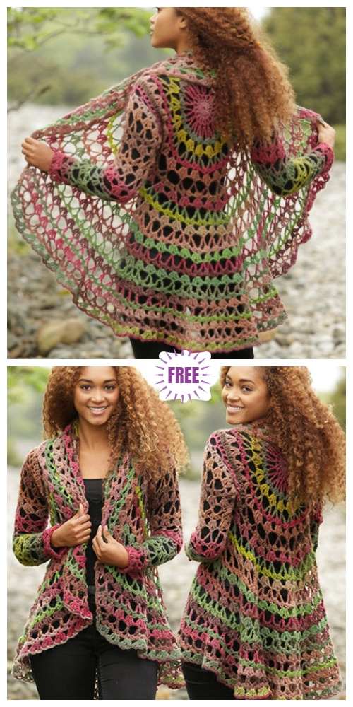 DIY Crochet Circle Cardigan Sweater Free Crochet Patterns - Crochet Fall Festival Circular Cardigan Free Crochet Pattern