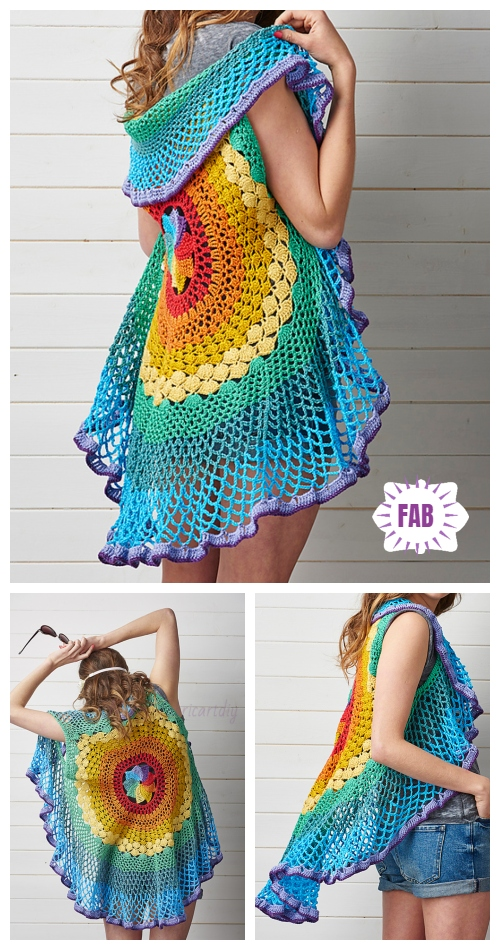 DIY Crochet Circle Cardigan Sweater Free Crochet Patterns & Paid- Crochet Rainbow Mandala Waistcoat Crochet Pattern