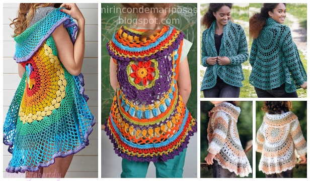 9d03b6cb93bdc8 Crochet Rainbow Mandala Waistcoat. DIY Crochet Circle Cardigan Sweater Free  Patterns   Paid
