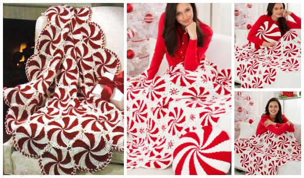 DIY Crochet Peppermint Afghan Throw Free Crochet Pattern - Video