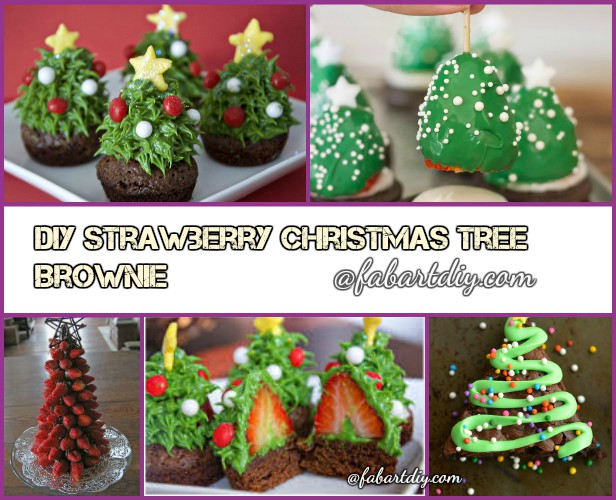 DIY Strawberry Christmas Tree Brownie Recipes and Tutorials