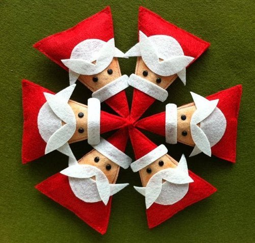 DIY Felt Christmas Ornament Tutorials - Free Templates Santa