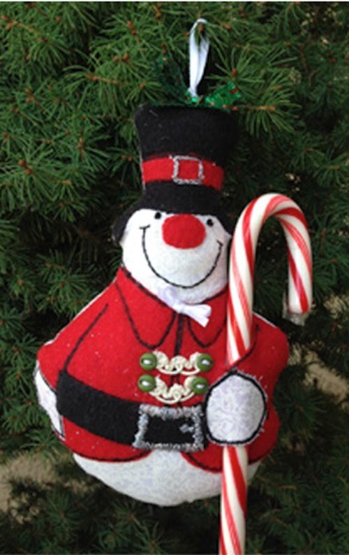DIY Felt Christmas Ornament Tutorials - Candy cane Snowman