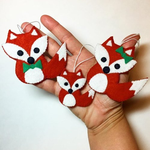 DIY Felt Christmas Ornament Tutorials - Free Templates Dove Fox