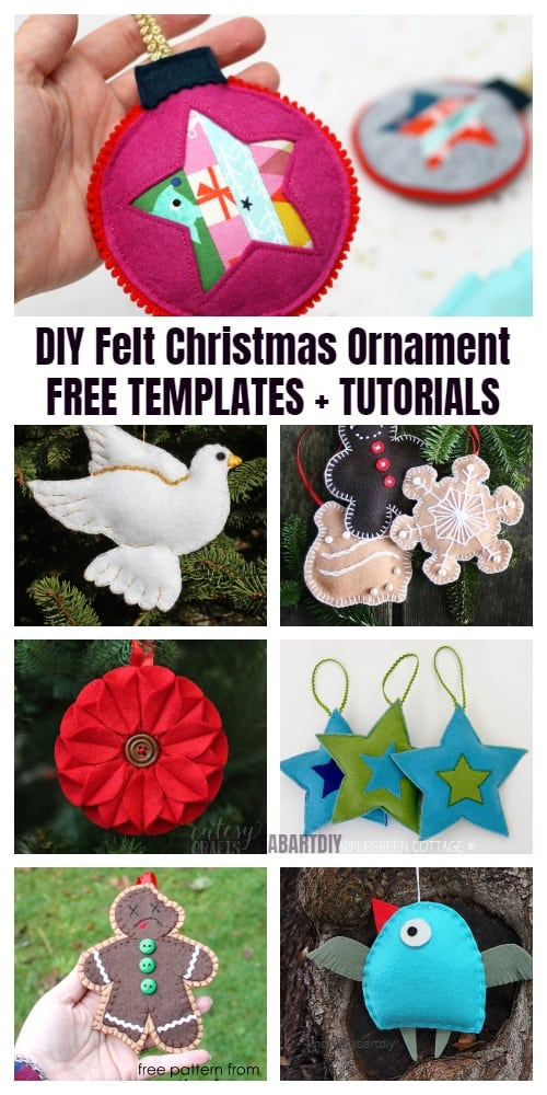 20 DIY Felt Christmas Ornament Tutorials - Free Templates