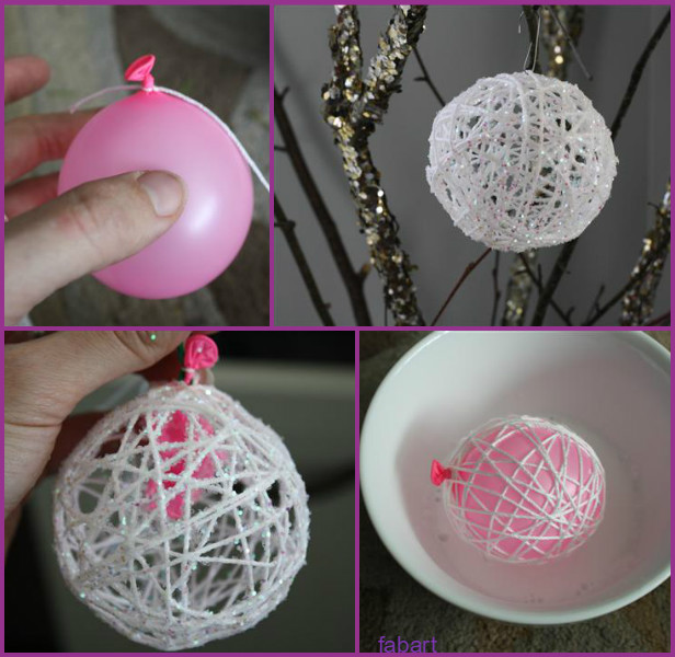 DIY Balloon Yarn Glittery Snowball Tutorial