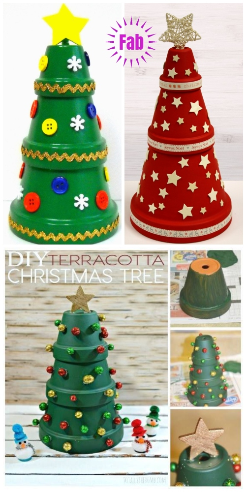 DIY Terra Cotta Flower Pot Christmas Decorations