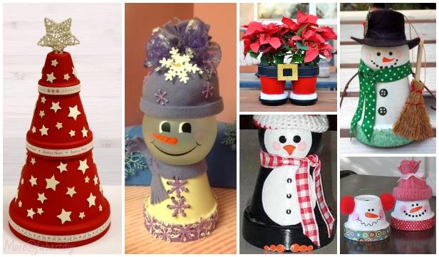 DIY Terra Cotta Flower Pot Christmas Decorations & Craft Tutorials