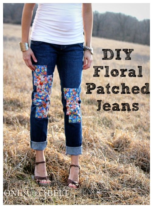 DIY Jean Hole Patches in Cutest Ways - DIY Floral Patched Jeans Tutorial
