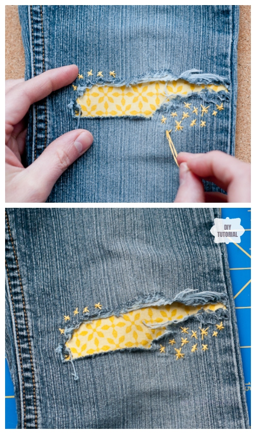 Fun DIY Jean Hole Patches in Cutest Ways - Cute Jean Holes Patch DIY Tutorial