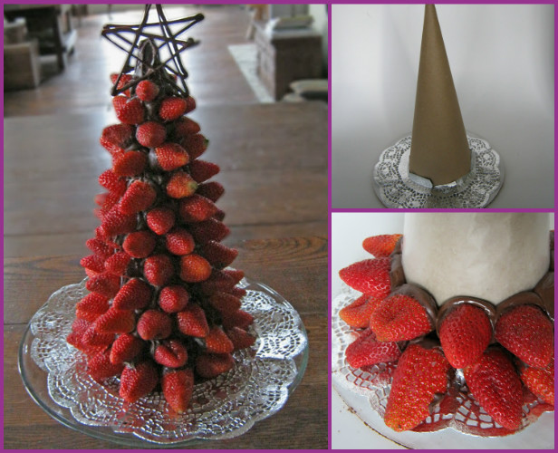 DIY Strawberry Christmas Tree Fruit Platter Tutorial
