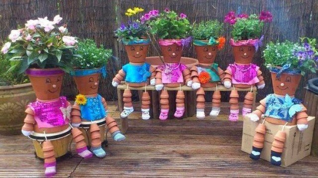 DIY Clay Pot Planter People Tutorials and Inspirations