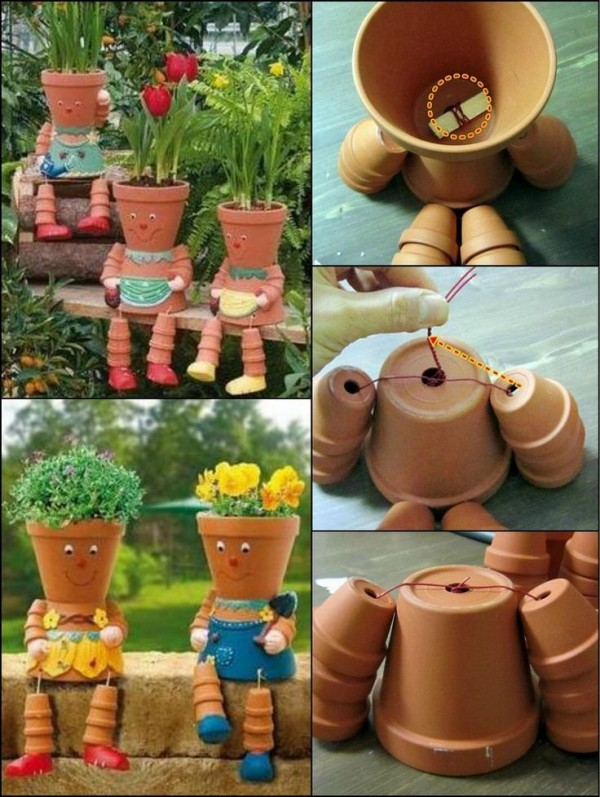 Pot people flower heads pictures to pin on pinterest for How to make clay pot people