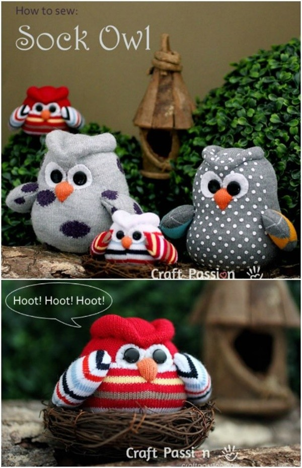 20 Adorable Sock Toys DIY Tutorials You Will Love to Make - DIY Sock Owl Tutorial