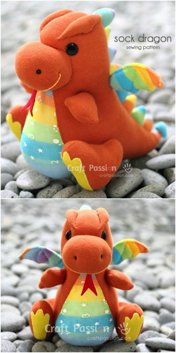 20 Adorable Sock Toys DIY Tutorials You Will Love to Make - DIY Sock Dragon Tutorial