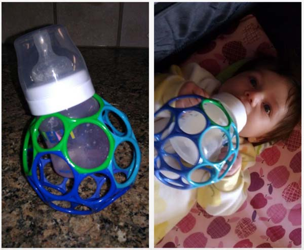 20+ Genius Parenting Hacks That Make Parenting So Much Easier-DIY bottle holder for baby to hold themselves