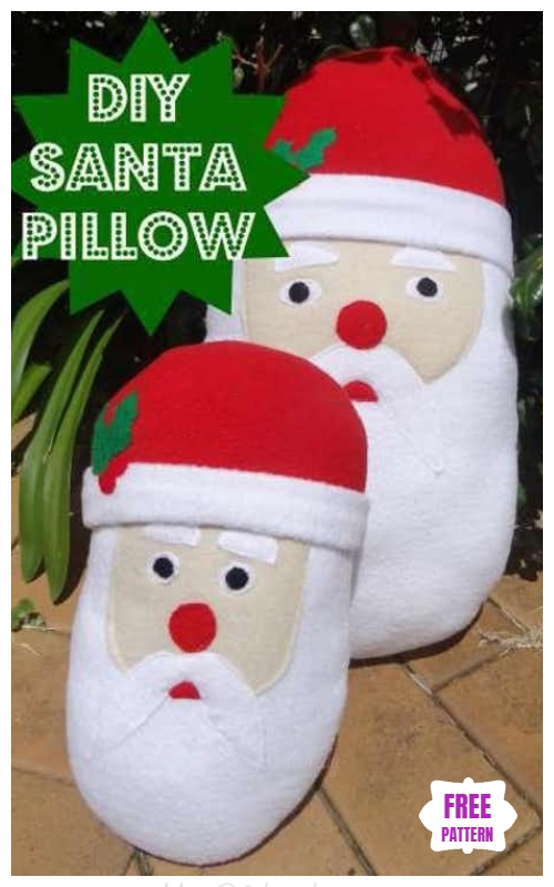 Christmas Craft: DIY Felt Christmas Santa Pillow Sewing Free Pattern