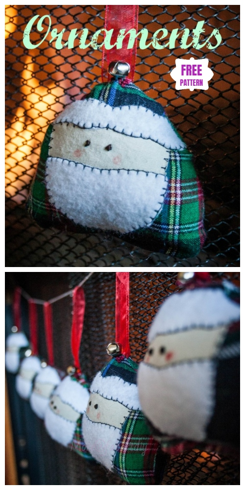 Christmas Craft: DIY Santa Face Ornament Sewing Free Pattern