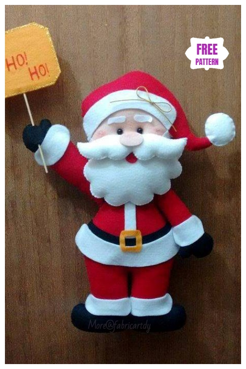 Christmas Craft: DIY Felt Santa Clause Sewing Free Pattern
