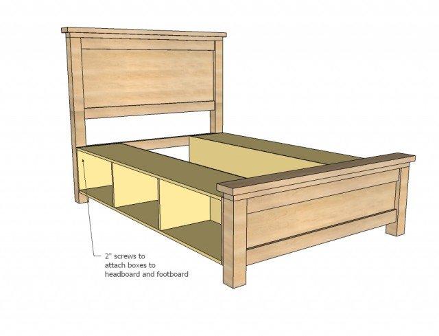 DIY Farmhouse Storage Bed With Storage Drawers 3