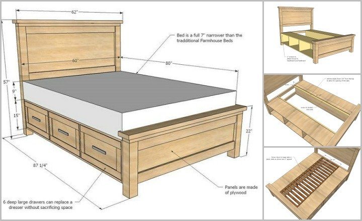 DIY Farmhouse Storage Bed With Drawers