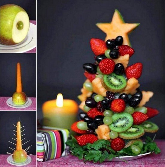 20+ Super Cute Christmas Treats DIY Ideas For This Holiday - Edible Fruit Christmas Tree Tutorial