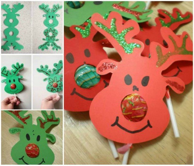 20 Super Cute Christmas Treats DIY Ideas For This Holiday - Lollypop Nose Reindeer tutorial