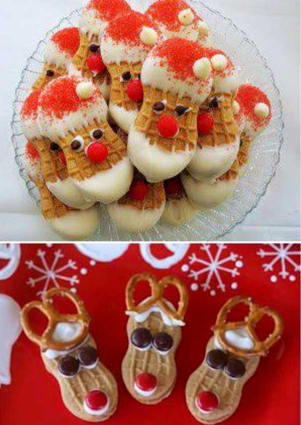 20+ Super Cute Christmas Treats DIY Ideas For This Holiday - Nutter Butter Santa Cookies tutorial