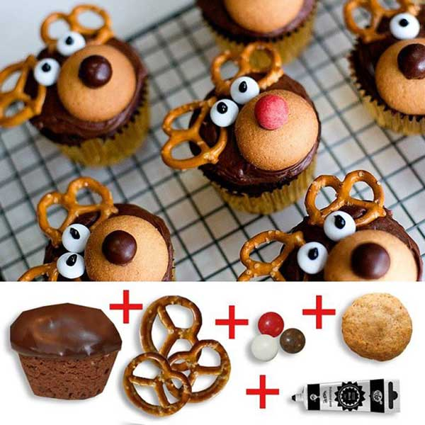 20+ Super Cute Christmas Treats DIY Ideas For This Holiday - Reindeer Cupcake Tutorial