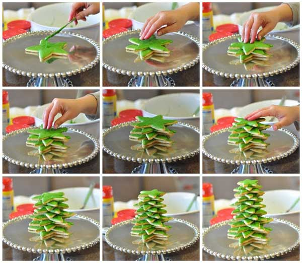 20+ Super Cute Christmas Treats DIY Ideas For This Holiday -3D Cookie Christmas TreeTutorial