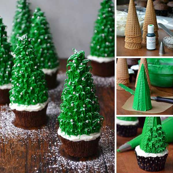 20+ Super Cute Christmas Treats DIY Ideas For This Holiday - Christmas Tree Cupcakes Tutorial