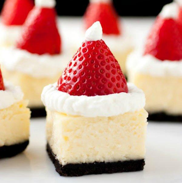 20+ Super Cute Christmas Treats DIY Ideas For This Holiday - Santa Hat Cheesecake bitesTutorial