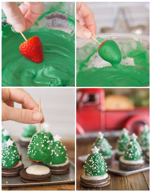 20+ Super Cute Christmas Treats DIY Ideas For This Holiday - Chocolate Covered Strawberry Christmas Tree Tutorial