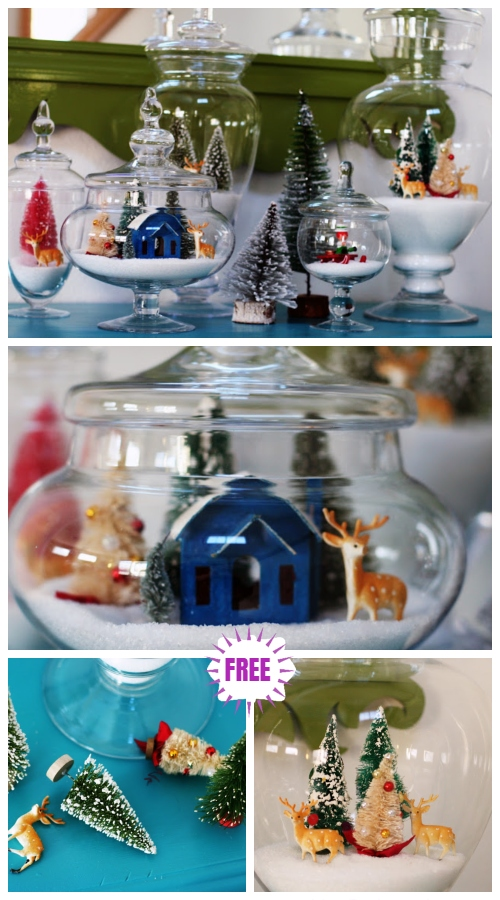 Christmas Craft: Sparkly Snow Christmas Tree Jar Centerpiece DIY Tutorial