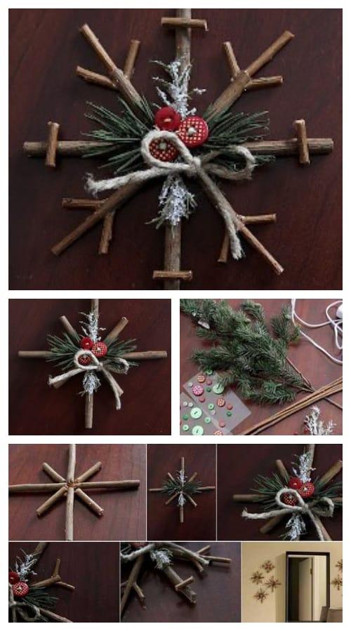 DIY Rustic Twig Snowflake Ornament Tutorial