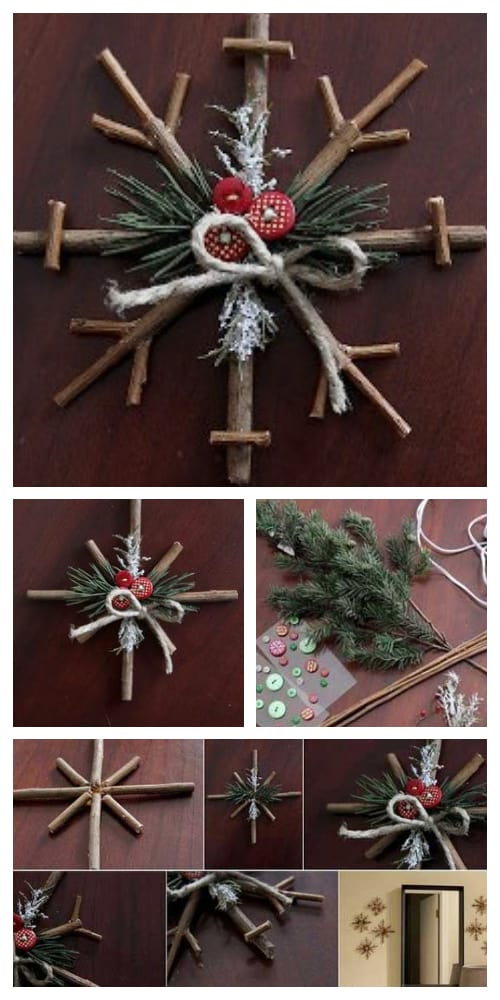 DIY Rustic Twig Snowflake Ornament Tutorial