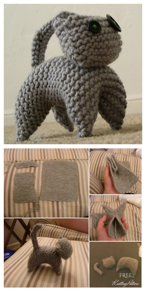 Easy Flat Knitted Cat Free Knitting Patterns