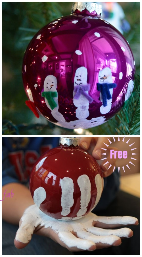 Kids Craft: DIY Handprint Snowman Christmas Ornaments Tutorial