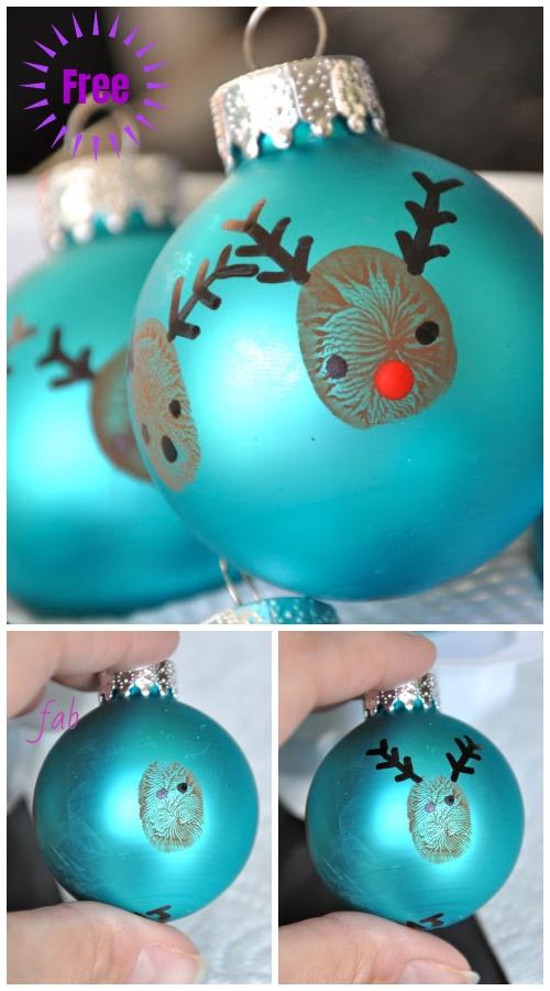 Kids Craft: DIY Fingerprint Reindeer Christmas Ornaments Tutorial